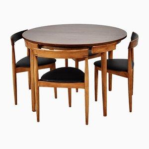 Mid-Century Teak Esstisch & Stühle Set von Hans Olsen für Frem Røjle, 5er Set