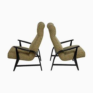 Mid-Century Italian Black Lacquered & Original Fabric Armchairs, Set of 2