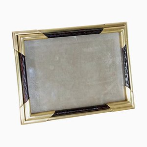 Vintage Italian Picture Frame in Brass and Wood