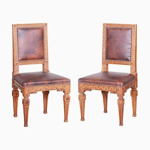 Early 19th-Century Czech Biedermeier Oak Chairs, 1800s, Set of 2