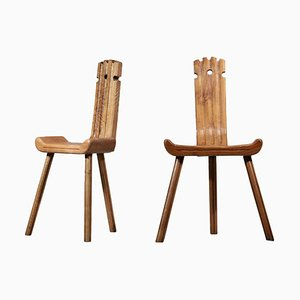 French Oak Tripod Chairs by Charlotte Perriand, Set of 2