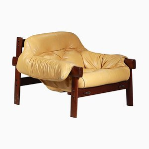 Armchair in Yellow Leather and Jacaranda Brazilian Design by Percival Lafer, 1960s