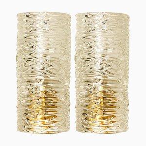 Handmade Brass and Glass Wall Lights by J.T. Kalmar, Set of 2