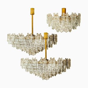 Brass and Glass Flush Mount Chandeliers by J.T. Kalmar, Set of 3