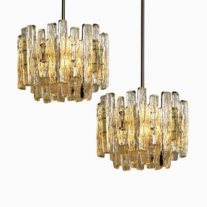 Large Modern Three-Tiered Chrome Ice Glass Chandeliers by J.T. Kalmar, Set of 2