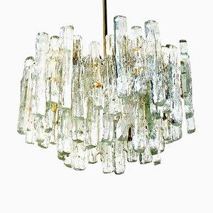 Large Modern Three-Tiered Ice Glass Chandelier from Kalmar