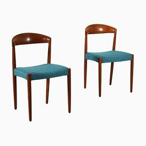 Sedie in teak e stoffa, anni '60, set di 2