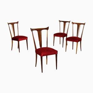 Beech & Velvet Chairs, 1950s, Set of 4