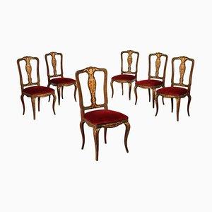 Sedie in stile intarsiato, set di 6