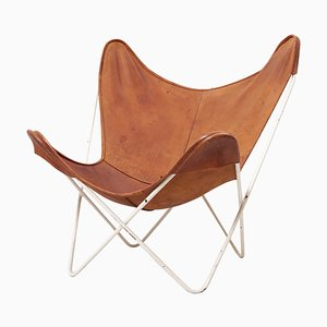 Chaise Butterfly Mid-Century Moderne en Cuir de Knoll International
