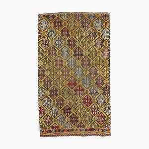 Handgeknüpfter türkischer Vintage 4 × 7 Oushak Kelim Wollteppich aus Wolle