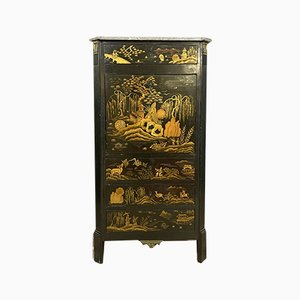 Napoleon III Hand-Painted Lacquered Wood Secretaire, 1850s