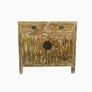 Antique Chinese Solid Oak Chest of Drawers with Ceruse Doors, Circa 1900