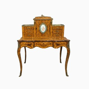 Napoleon III Japanese Style Rosewood Crossbow Desk with Wood Marquetry