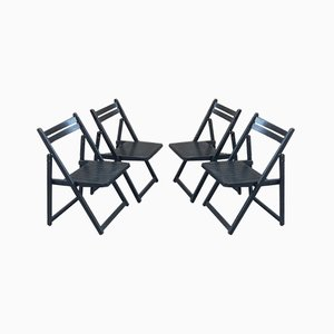Vintage Black Folding Chairs, Set of 4