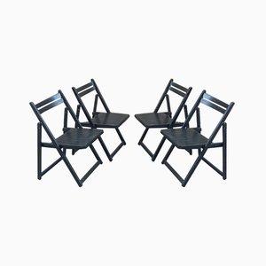 Vintage Black Folding Chairs, Set of 4