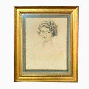 Gaston Cirmeuse, Junge Frau, Anthrazitgrüner Porträt, 1920er