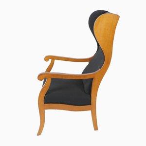 Mid-Century Biedermeier Style Cherrywood Wingback Chair