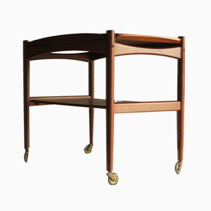 Danish Teak Serving Trolley with Detachable Tray, 1960s