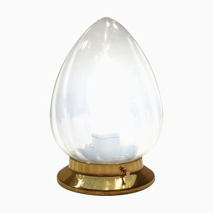 Opalescent Glass & Brass Lamp, 1950s