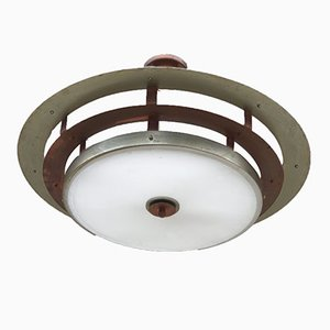 Italian Art Deco Copper, Glass & Nickel-Plated Ceiling Lamp, 1940s