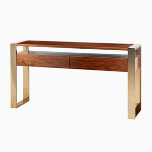 Iron Console Table with Brass Feet by Mambo Unlimited Ideas