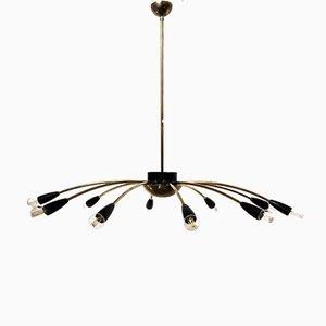 Italian Brass 10-Light Sputnik Ceiling Lamp, 1950s