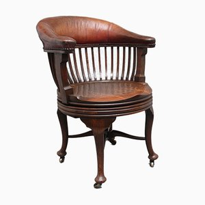 Oak & Leather Swivel Desk Chair, 1800s