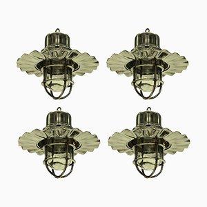 Vintage Nickel Ship Lamps, Set of 4