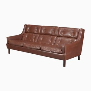 Brown Leather 3-Seater Sofa by Torbjørn Afdal, 1960s