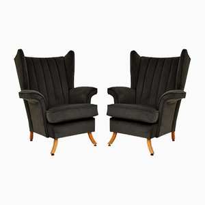 Mid-Century Black Velvet Armchairs, 1950s, Set of 2