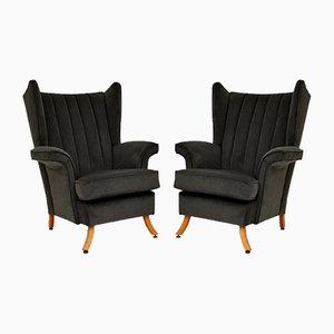 Mid-Century Black Velvet Armchairs, 1950s, Set of 2