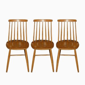 Runged Natural Wood Dining Chairs, 1960s, Set of 3