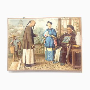 School Poster, Chinese Life and Clothing Lithograph, Early 20th Century