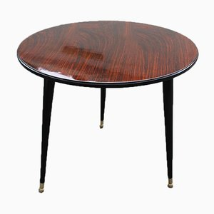 Round Rosewood Coffee Table with Brass Base from Cassina, 1950s