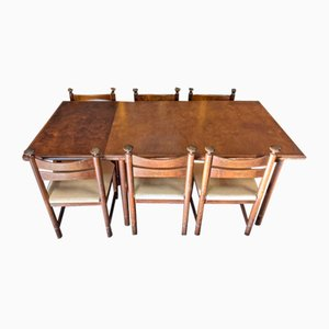 Mesa de comedor y sillas escandinavas Mid-Century de palisandro de Asko Export, años 60. Juego de 7