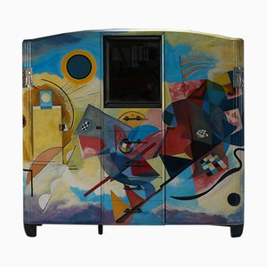 Art Deco Buffet Painted in the Style of Kandinsky