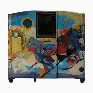 Buffet Art Déco Peint dans le Style de Kandinsky