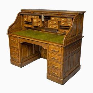 Antiker edwardianischer Schreibtisch mit Rolltür