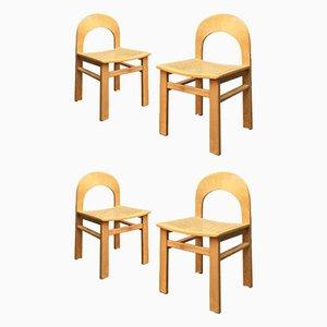 Italian Beech & Vienna Straw Dining Chairs, 1980s, Set of 4