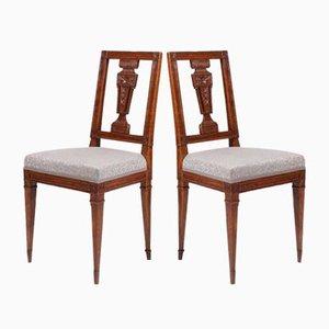 German Louis XVI Walnut Dining Chairs, Set of 2, 1780s