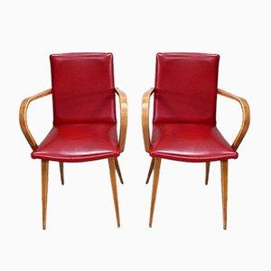 Baumann Style Beech Dining Chairs, 1950s, Set of 2