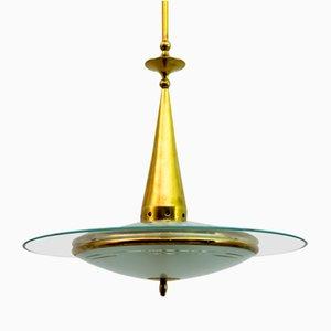 Mid-Century Deckenlampe aus Messing und Glas von Fontana Arte, 1950er