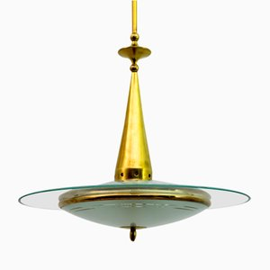Mid-Century Modern Brass and Glass Ceiling Lamp from Fontana Arte, 1950s