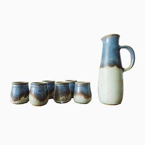 Greek Ceramic Jug & Drinking Cups from Kamini, 1970s, Set of 7