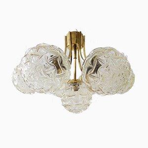 Golden Glass & Brass Sputnik Chandelier from Kaiser Idell / Kaiser Leuchten, 1960s