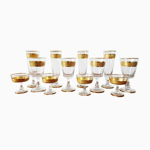 Mid-Century Gilded Glasses, Set of 12