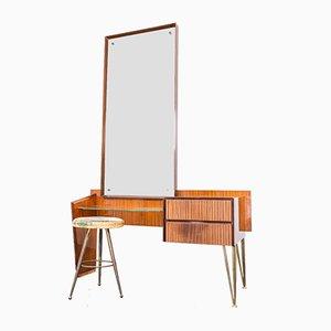 Vintage Messing Frisiertische mit Spiegel, 1950er, 2er Set