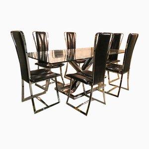 Tavolo da pranzo e sedie in acciaio, vetro e vinile, Italia, anni '70, set di 7