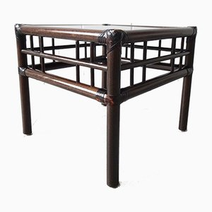 Bamboo, Rattan & Smoked Glass Coffee Table, 1970s